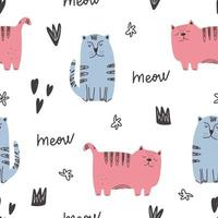 Cute cat pattern - hand drawn childish kitten seamless pattern design vector