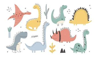 Cute Dinosaurs collection in cartoon style. Colorful cute illustration vector