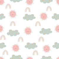 Cute seamless pattern with sun and clouds  Digital paper vector