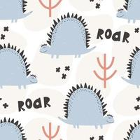 Cute dinosaur pattern hand drawn childish seamless digital paper vector