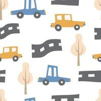 Children's pattern with cars Transport Road Vector hand-drawn