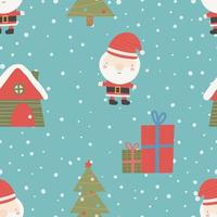 Seamless Christmas pattern with Christmas tree, snow and gifts. vector