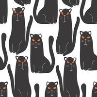 Halloween seamless pattern for design Halloween symbols black cat vector
