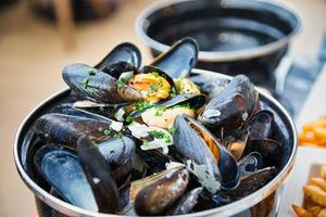 Plate of mussels in France photo