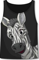 Front of tank top sleeveless with zebra pattern vector