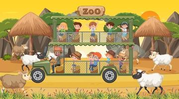 Safari at sunset time scene with children watching sheep group vector
