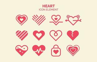 Set of Heart Icon Elements vector
