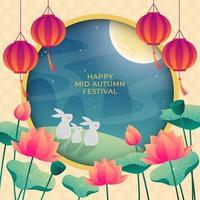 Beautiful Mid Autumn Festival in Gradient Color Concept vector