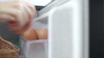 La cocinera recoge huevos crudos del compartimento refrigerado del frigorífico. video