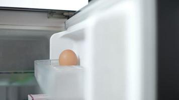 El chef coloca los huevos crudos del mercado en el compartimento del frigorífico. video