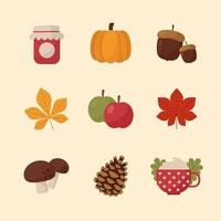Set of Cute Autumn Icon with Autumn Color Scheme vector