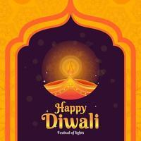 Peaceful Candle Lights Diwali Festival vector