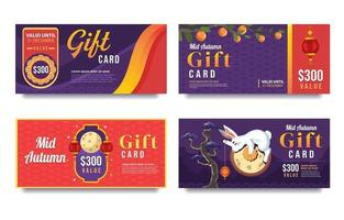 Set of Mid Autumn Shopping Gift Card vector
