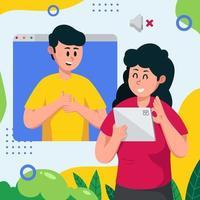 comunicación virtual mediante lenguaje de señas vector