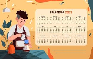 Calendar 2022 Template with Barista Cafe vector