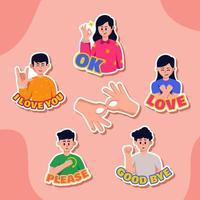 conjunto de pegatinas de lenguaje de señas vector