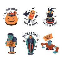 Trick or Treat Halloween Character Collection vector