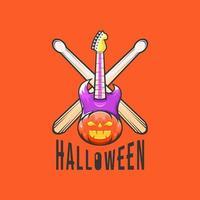 Halloween pumpkin with guitar design vector