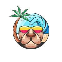 Summer with dog face design vector