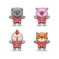 Christmas character with animal design vector