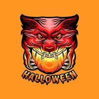 Halloween pumpkin with monster wolf design vector