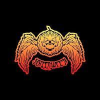 Halloween pumpkin with wings design vector