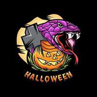 Halloween night with snake and pumpkin design vector