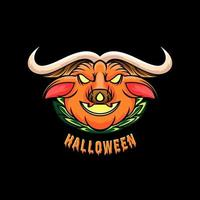 Halloween with monster pumpkin design vector