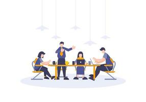 Team business working and discussing with flat people vector