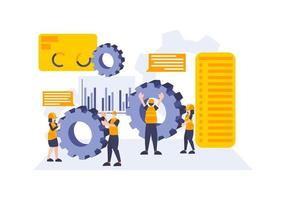Business analysis and workers. Landing page or web development vector