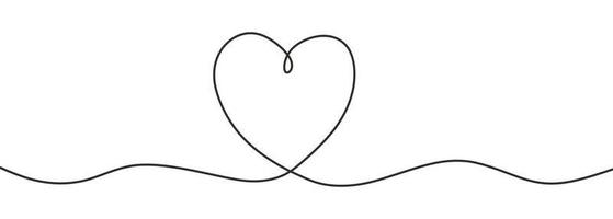 Romantic continuous line drawing of love sign with heart symbol vector