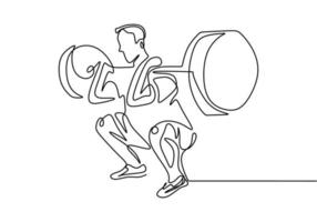 One line drawing of man body builder vector