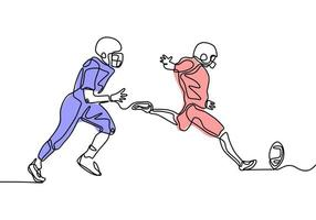 American football game continuous one line drawing. vector