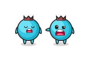 illustration of the argue between two cute blueberry characters vector