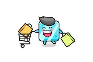 black Friday illustration with cute ice cube mascot vector