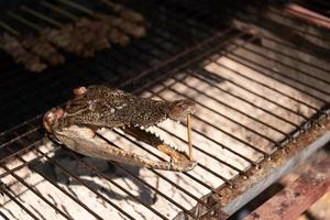 Close up of crocodile head roasted on charcoal stove in street market photo