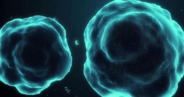 células orgánicas moviéndose en tejido humano, vista microscópica video