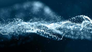 Blue color particles wave abstract background photo