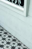 retro interior design detail with vintage floor tiles photo