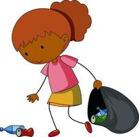 A doodle girl cleaning trash cartoon character isolated vector