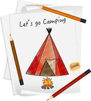 Sketch camping tent on paper isolated vector