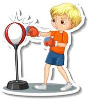 Cartoon character sticker with a boy punching vector