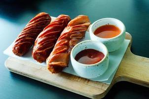 Closeup of tasty italian sausage food photo