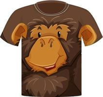 Front of t-shirt with monkey face pattern vector