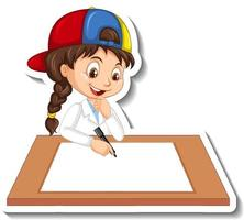 Cartoon character sticker with a girl writing on blank paper vector