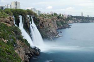 Duden Waterfalls falls into mediterranean sea at Antalya Turkey photo