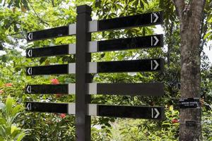 Black signs, directional signs blank for labeling. Parks and gardens. photo