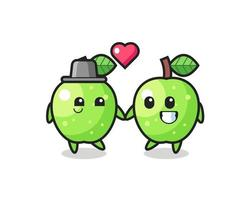 green apple cartoon character couple with fall in love gesture vector
