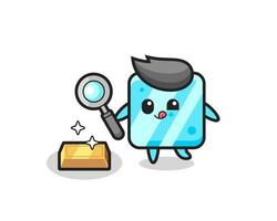 ice cube character is checking the authenticity of the gold bullion vector
