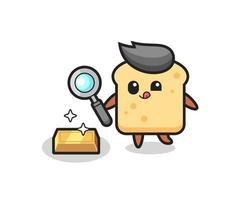 bread character is checking the authenticity of the gold bullion vector
